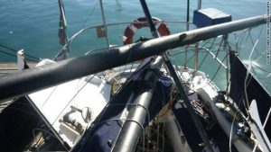 Breaching whale crash-lands on sailboat