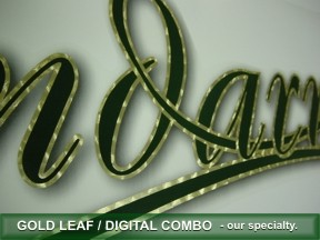Gold leaf outline on digital lettering