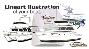 Lineart Illustration with your boat lettering for gear.