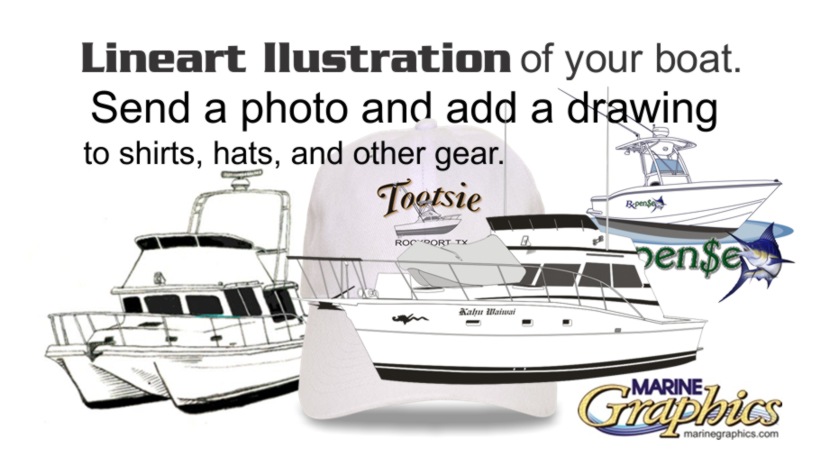 Lineart Illustration with your boat lettering.