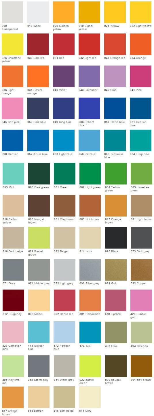 vinyl color chart