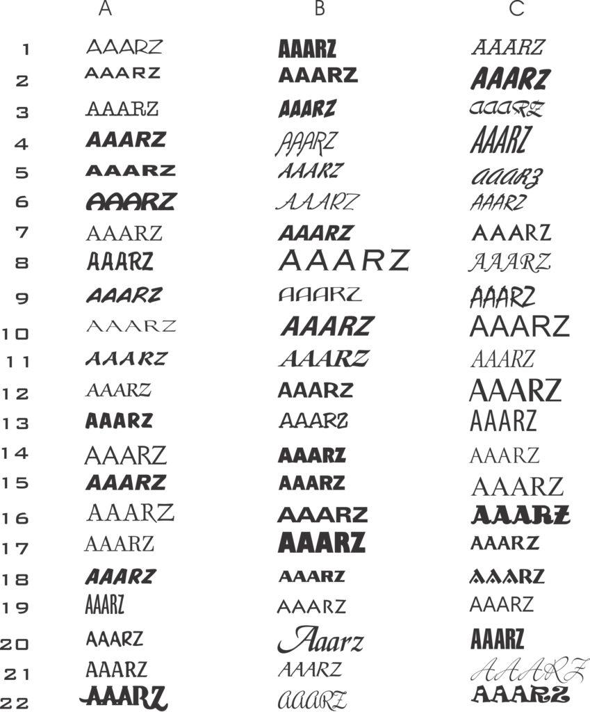 AAARZ Boat Lettering samples