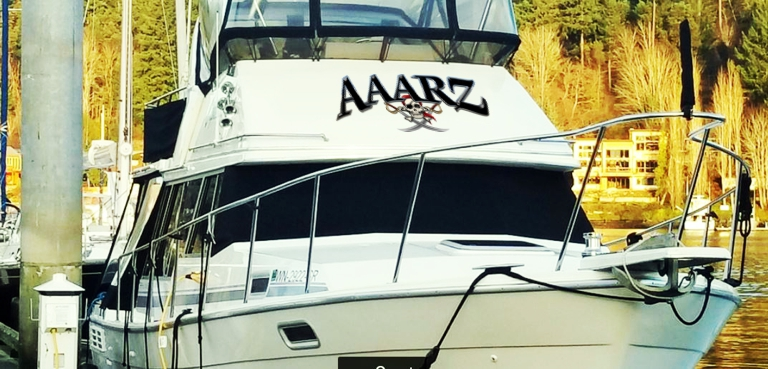 AAARZ Boat Lettering with Jolly Roger pirate 1 on house