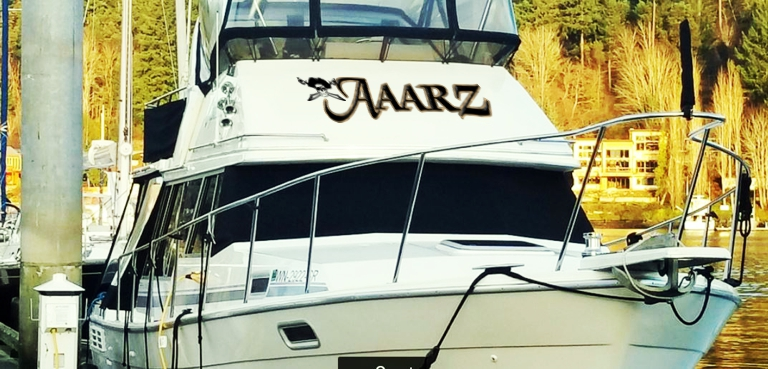 AAARZ Boat Lettering with Jolly Roger pirate 3 on front of boat