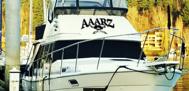 AAARZ Boat Lettering with Jolly Roger pirate on house larger vinyl graphic