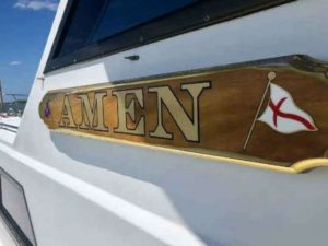 "A boat named ""Amen"""