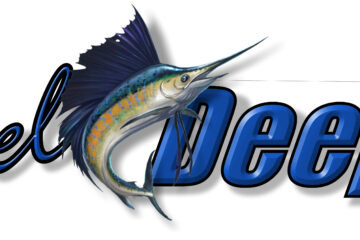 Reel Deep with blue marlin sportfishing boat graphic