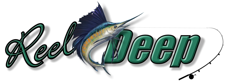 Reel Deep sportfishing boat graphics with green beveled letterface. blue marlin, rod and reel